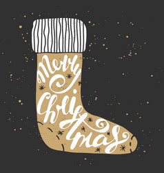 merry christmas in sock in vintage style vector image