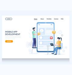 mobile app development website landing page vector image