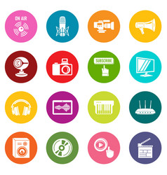 multimedia internet icons set colorful circles vector image