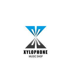 Music shop xylophone letter x icon vector