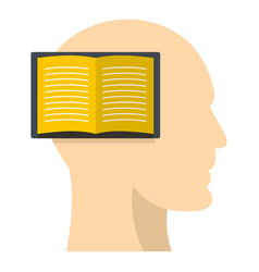 Open book inside a man head icon isolated vector