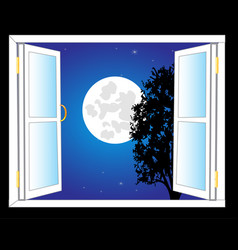 open window and moon night vector image