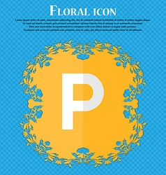 parking Floral flat design on a blue abstract vector image