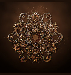 pattern of golden circle flowers vector image