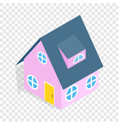 Pink house isometric icon vector