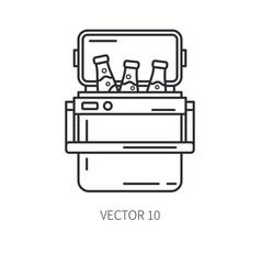 Retro furniture compact picnic refrigerator line vector