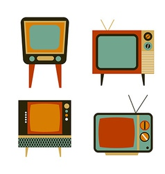 retro tv items set vector image