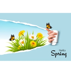 Ripped hand paper background revealing spring vector