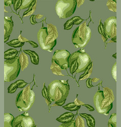 Seamless pattern of limes amd lemon fruits there vector