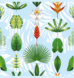 seamless symmetric tropical flowers and leaves vector image