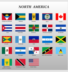 Set all flags north america vector