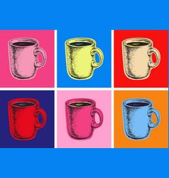 Set coffee mug pop art style vector