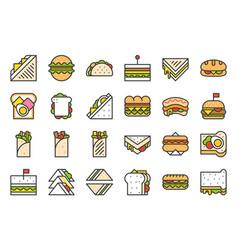shawarma sandwich hotdog taco burger fast food vector image