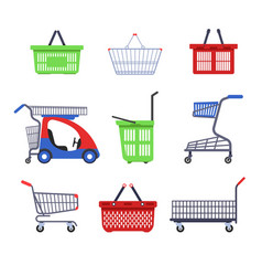 shopping supermarket carts or trolleys and baskets vector image