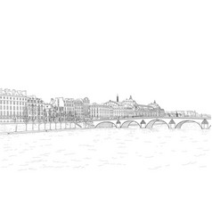 sketch of seine embankment vector image