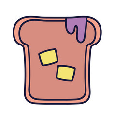 slice bread with jam and butter cartoon icon style vector image
