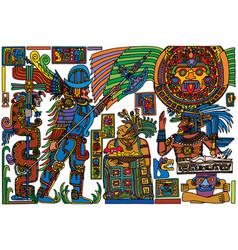 Spanish conquistador meeting pre-columbian people vector