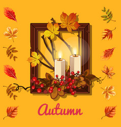 stylish poster on the theme of golden autumn vector image