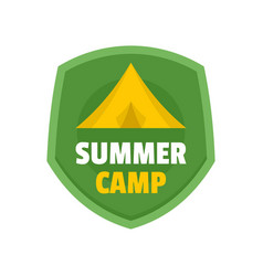 summer tent camp logo flat style vector image