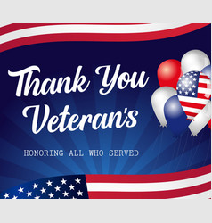 thank you veterans lettering usa balloons vector image
