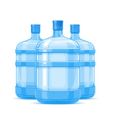 Three plastic water bottle containers vector