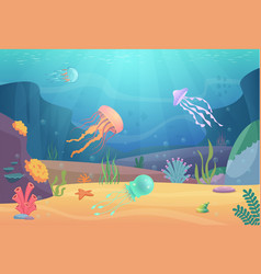 Underwater life ocean landscape with fishes and vector