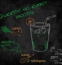 Vegetables smoothie with ingredients list Zucchini vector