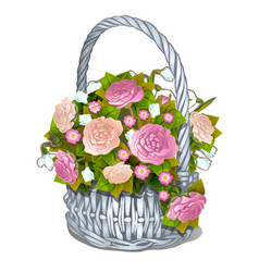 Vintage basket of flowers isolated on white vector