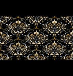 vintage damask seamless pattern black floral vector image