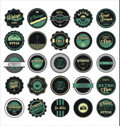 vintage labels black and green set vector image