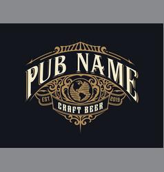 Vintage pub logo layered vector