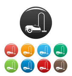 Wash vacuum cleaner icons set color vector