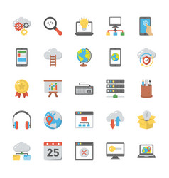 Web design flat icons set vector