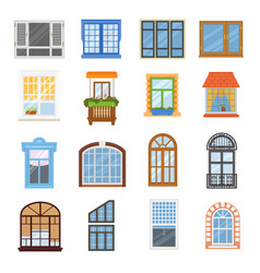Window modern house view glass frame arch vector