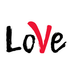 word love with red mark hand drawn brush vector image