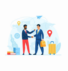 Work abroad concept flat vector