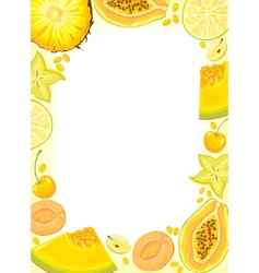 Yellow fruits and berries frame vector