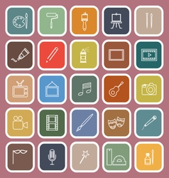 Art line flat icons on red background vector image