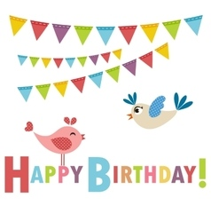 Birthday card with birds vector image vector image