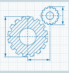 cogwheel drawing blue vector image