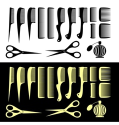 Combs and scissors vector image vector image