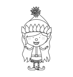 contour with christmas gnome girl vector image vector image