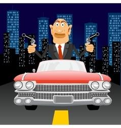 Gangster with handgun driving vector