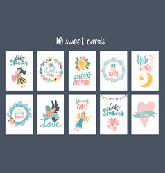 hand-drawn fairy cards vector image vector image