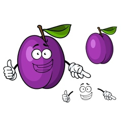 Happy purple cartoon plum fruit giving a thumbs up vector image