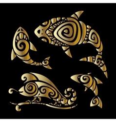 Lizards Polynesian tattoo style vector image