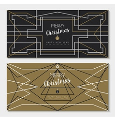 Merry christmas new year art deco outline card set vector image