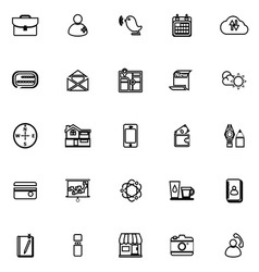 Mobile line icons on white background vector image vector image