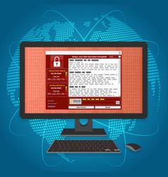 virus malware ransomware wannacry encrypted your vector image