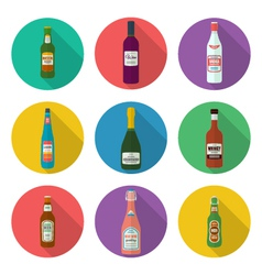 alcohol bottles icons set vector image